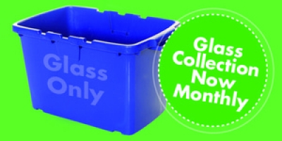 Glass collection changes from fortnightly to every four weeks