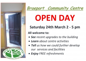 Braeport Community Centre Open Day on 24 March