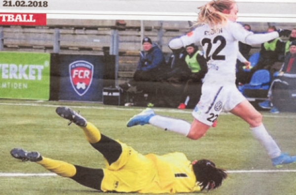 Fiona plays her football in Malmo